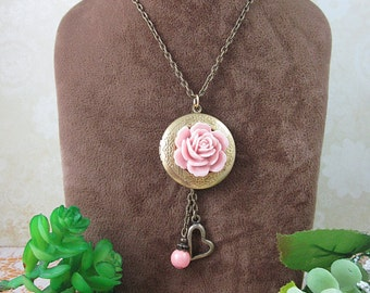 Round Brass Locket with pink rose Necklace. Gift for her. Valentine, Birthday, Sentimental Memories