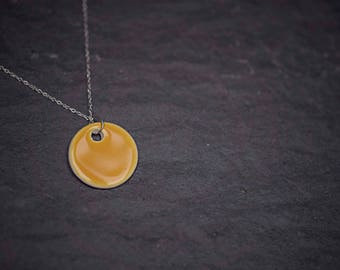"""Yellow Ceramic Circle Pendant ~ Necklace ~ Jewellery ~ Handmade ~ Sterling Silver ~ 925 ~ 18"""" Chain ~ Gifts for Her"""