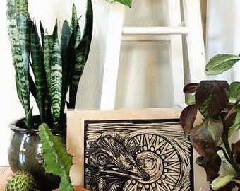 Hand-Printed Emu Linocut