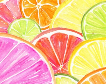 Citrus watercolor painting original, 8 x 10 Tutti Frutti Grapefruit, Lemon, Orange Lime, Watercolor Painting, Citrus Artwork. Kitchen  Decor