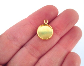 Gold Plated 10mm bezel settings pick your amount, B157