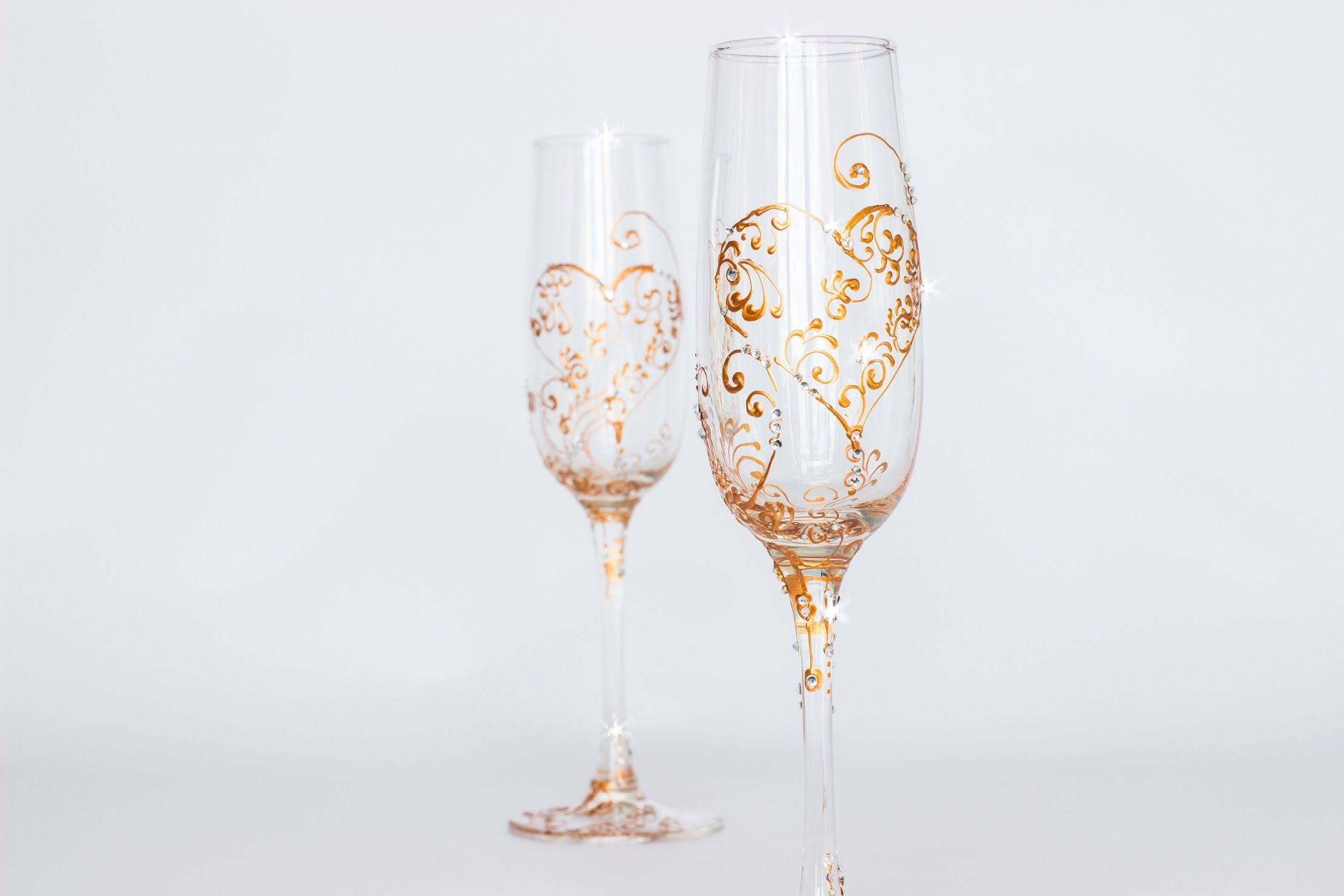 ROSE GOLD wedding glasses Hand painted wedding glasses Rose
