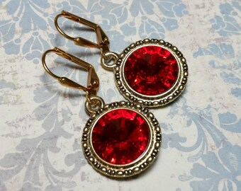 Red Crystal Earrings, Red Rhinestones, Red Swarovski Crystal Earrings, Dangle Earrings, Red Earrings, Red Crystal Jewelry, Gifts Under 20