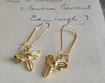 Gold plated bee earrings - nature inspired - woodland jewellery - woodland earrings - dangle and drop - woodland wedding