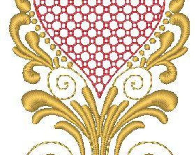 Gold and Red Hearts   ( 10 Machine Embroidery Designs from ATW )