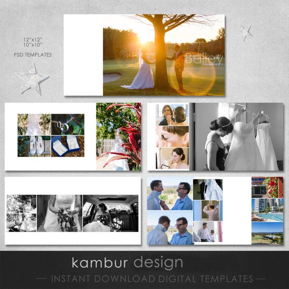 Photo Album Examples: 12X12 10x10 PSD 30 Pages Wedding Album Template 15