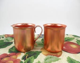 Creamer Sugar Bowl Color Craft Aluminum Copper / Rose Color Vintage Retro Mid Century Kitchen