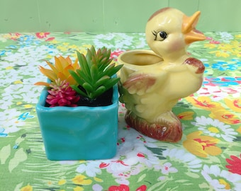 Vintage Duck Planter, Ceramic Yellow Duck Planter, Duck Figurine Knick Knack
