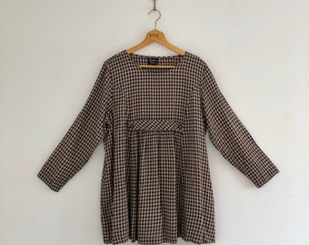 Vintage 90's Gingham Maternity Babydoll Tunic Dress Top L