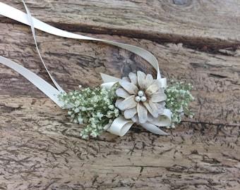 Pinecone Wedding Corsage, Neck Corsage/Puppy Corsage - Pine Daisy Corsage - Pinecone, Baby's Breath or Lapsana & Birch