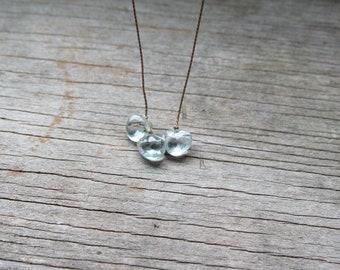 soulsilk triple AQUAMARINE silk necklace March birthstone necklace, blue gemstone necklace, hand knotted necklace