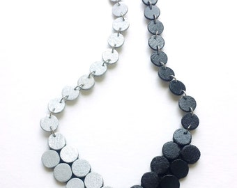 silver and black statement necklace.. modern, contemporary necklace.. geometric wood jewelry..handmade jewelry