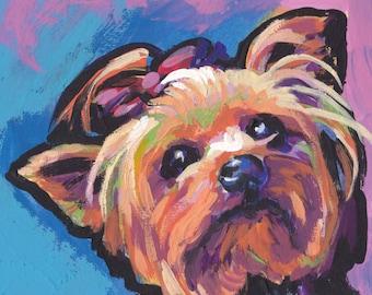 "Yorkshire Terrier yorkie dog art print of pop dog art painting bright colors 8x8""  LEA"
