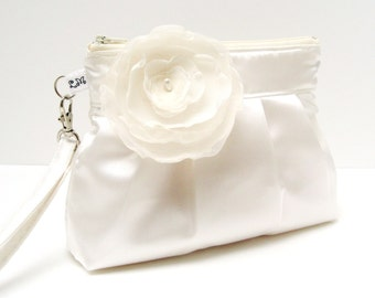Wedding Clutch Purse Zippered Wristlet White Satin with Flower Brooch