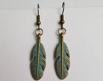 Patina brass leaf earrings.
