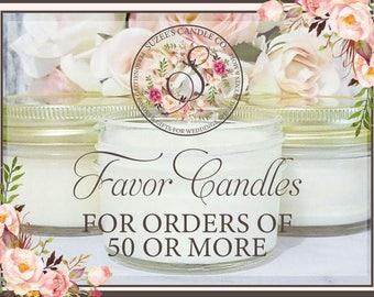 50 - 4oz Candle Favors For Wedding - Bridal Shower Candle Favors - Wedding Candle Favors - Personalized Candle Favors - Candle Party Favor