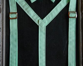 Suspenders bow tie set mint green