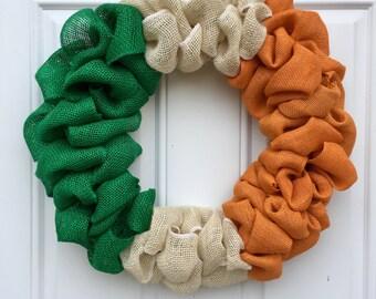 St Patrick's Day Burlap Wreath, Irish Wreath, Ireland burlap wreath, Erin Go Bragh, Green White Orange Wreath, Spring burlap wreath