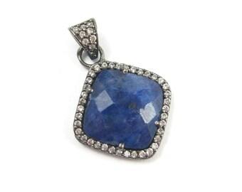 Pave Bezel Gemstone Pendant Blue Sapphire Dyed, CZ Pave Oxidized Sterling Silver Frame,Faceted Bezel Gem Diamond Shape-17mm-SKU: 201152-BSH