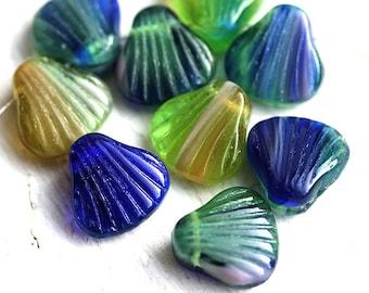 Shell beads Mix, Blue Green Czech glass beads, Blue Green beads mix, large seashell beads - 15mm - 5Pc - 0862