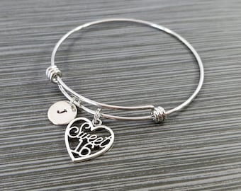 Sweet 16 Bangle - Sweet Sixteen Bracelet - Expandable Bangle - Charm Bracelet - Initial Bracelet - Daughter Bracelet - Daughter Gift
