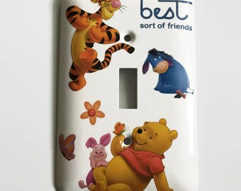 Winnie the Pooh and Friends Single Light Switch Cover, Best Sort of Friends, Tigger, Piglet, Eyor, Baby Gift, Nursery