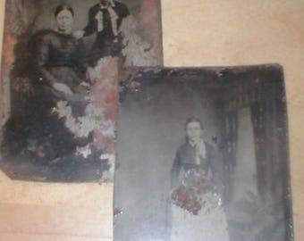 lot of two Antique Tin-Types Photos from the 1800's