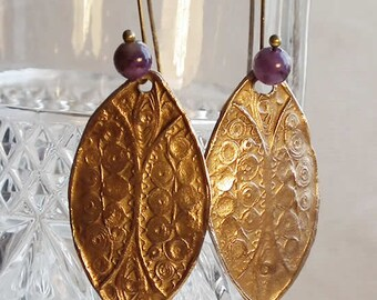 Bronze earrings  with a delicate ancient filigree look & Gembeads(Amethysts on the photo, choose your stone from the 15 or all the stones)