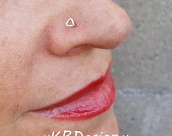 14K Gold Filled-Solid Gold-Triangle-Nose Stud-Tragus-Earrings-Customized / Free US Shipping