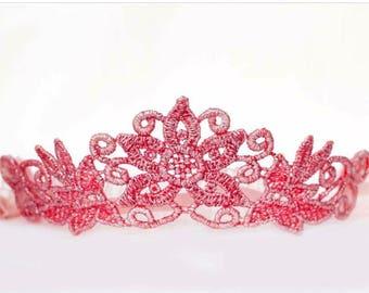 Wild Child crown, tiara crown, headband crown, lace crown, custom crown, birthday princess