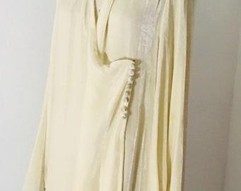 Vintage 30's Silk Velvet Wedding Wrap Coat l L