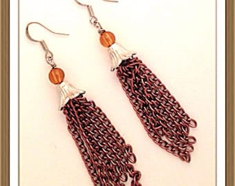 Handmade MWL dangle chain earrings from a silver bell finding. 0066