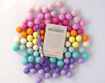 Felt Pom-Poms // Pot of Gold (with optional Garland Kit) // Felt Balls, Felt Garland DIY, Felted Balls, Felted Pom-Poms, Spring Colors