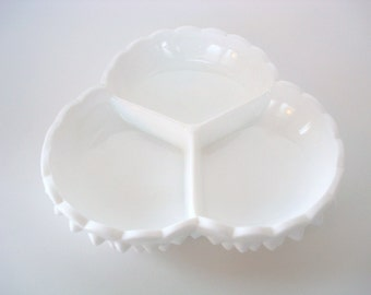 Vintage Fenton Milk Glass Dish - Fenton White Hobnail Dish - Glass Relish Dish