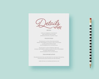 Elegant Marsala Reception Card, Day Of Details Card, Accommodations Card, Burgundy, Leaves - Printable or Printed - FREE SHIPPING