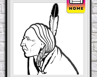 Native American Black and White - Coloring Book Illustration