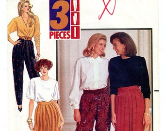 Vintage Butterick 4997 Womens Tapered Pleated High Waist Pants UNCUT Sewing Pattern Sizes 18 20 22 Large XL Waist 32 34 37