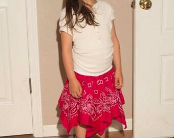 Bandana Skirt, handkerchief skirt, Western skirt, play skirt, dance skirt, twirl skirt, country skirt, square dance skirt
