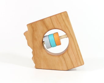 ARIZONA State Baby Rattle™ - Modern Wooden Baby Toy - Organic and Natural