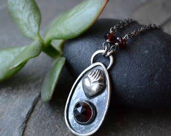 Sacred Heart Garnet Sterling Silver Necklace
