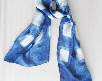 INDI 0167 Silk scarf Blue Birthday gift Eco friendly Gift for women Anniversary gift Spring Boho Wedding shawl Gift for wife Gift for mum