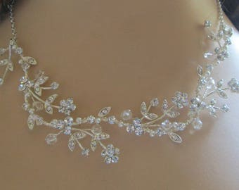 Wedding necklace, Crystal Pearl, Vine Necklace , silver wire,  Bridal necklace, Bridal Jewelry