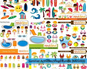 Summer clipart big mega bundle sale - Summer activities clip art - pool party, surf's up, kids - commercial use