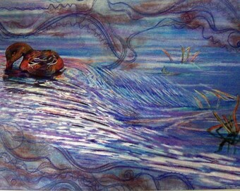 original art  drawing 16x20  Waterduck colorful duck in the water zentangle
