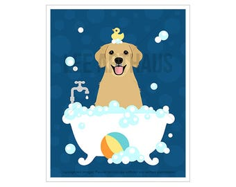 250D Dog Art Print - Golden Retriever in Bath Tub Wall Art - Dog Wall Art - Golden Retriever Print - Golden Retriever Wall Art - Bath Prints