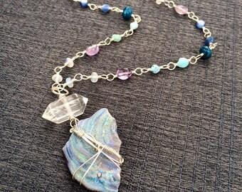 Glittering Aura Chalcedony w/ Quartz Point, Rainbow Moonstone, Amethyst, Larimar, Apatite & Kyanite Necklace - Boho Gypsy Gemstone Jewelry