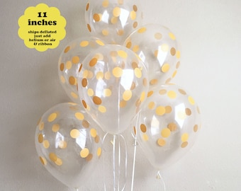 "Gold Polka Dot Balloons - 6 pack 11"" Latex - Gold Confetti Balloons First Birthday Wedding Bridal Shower Gold Party Decorations Graduation"
