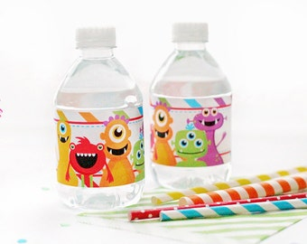 Monster Mongrels Printable Water Bottle Wrappers, Monster Party Bottle Labels, Instant Download, Monster Party Printable, Monster Wrapper