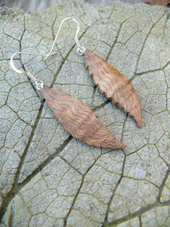 Natural wood earrings, Leaf earrings, Wooden jewelry, Sterling silver earrings, Sterling silver leaf earrings, Oak leaf earrings,