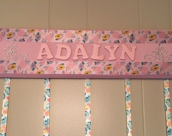 Personalized hairbow holder, girls hairbow holder, hairbow holder